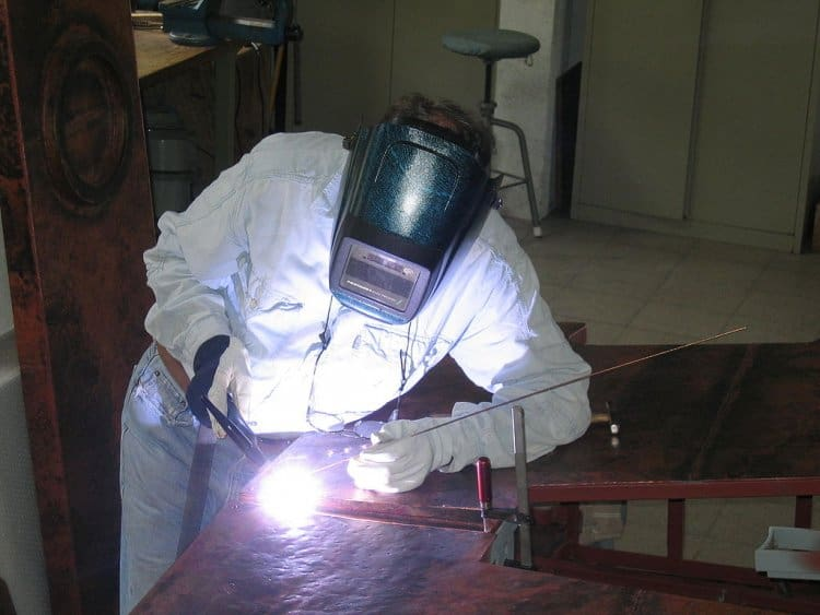 TIG welding practitioner in a comfortable position